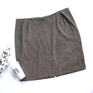 VINTAGE Olive green suede knee length pencil skirt